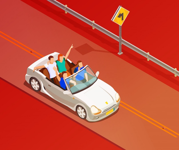Friends riding luxury car isometric poster Free Vector