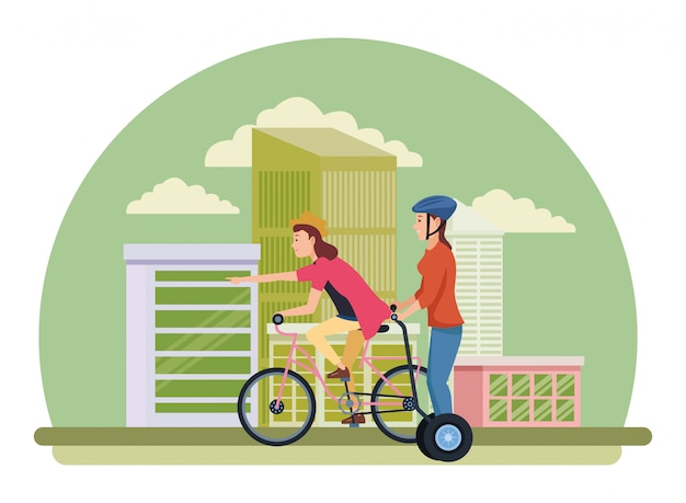 Friends riding with bicycle and electric scooter Premium Vector