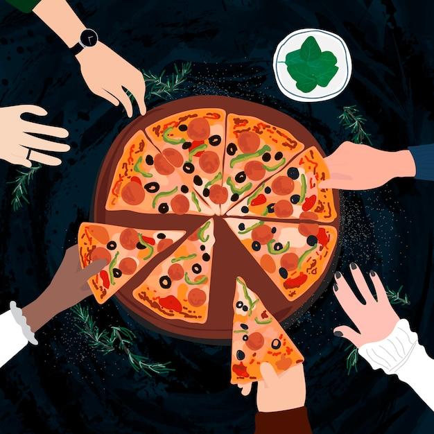 Friends sharing an italian pizza Free Vector