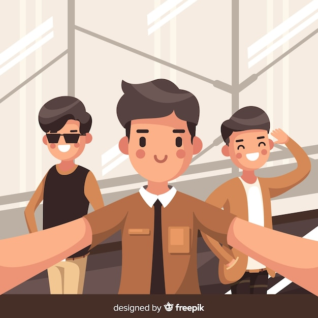 Friends spending time together background Free Vector