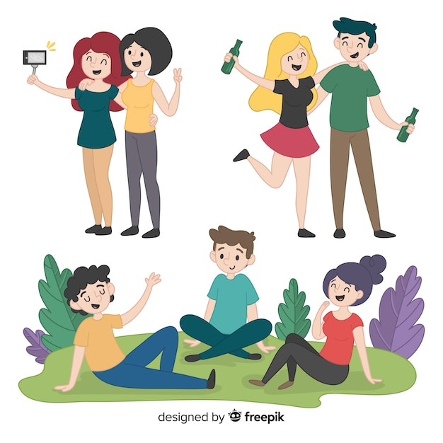 Friends spending time together flat design Free Vector
