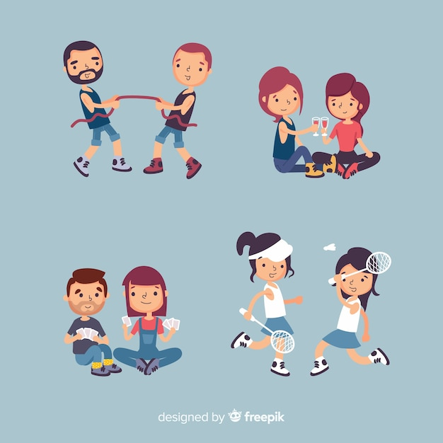 Friends spending time together flat design Free Vector