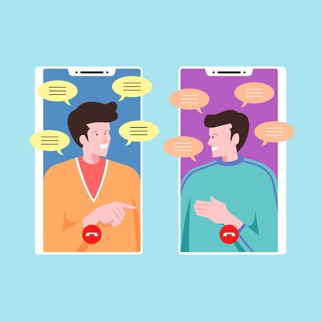 Друзья разговаривают и общаются по видео звонкам Бесплатные векторы