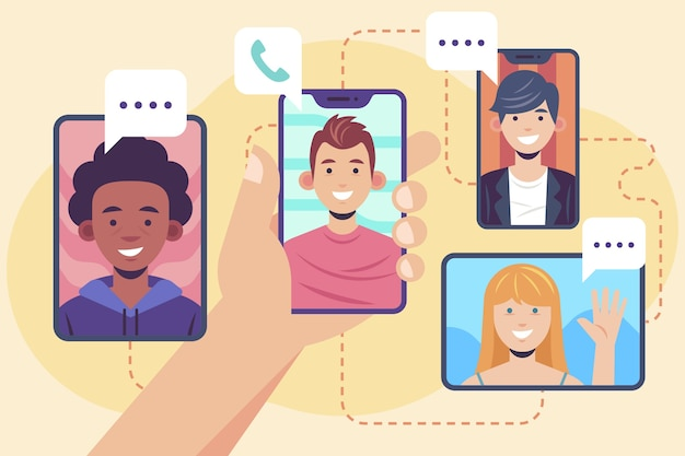 Friends video calling concept Free Vector
