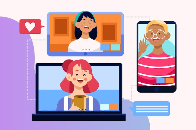 Friends video calling Free Vector