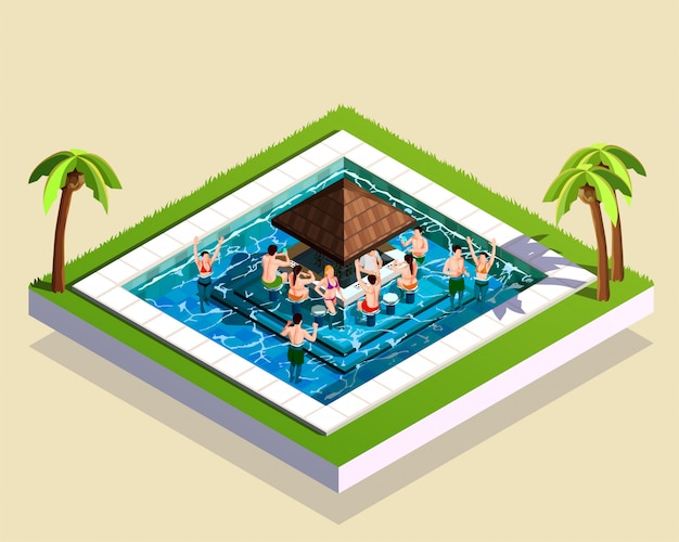 Friends in water park isometric illustration Free Vector
