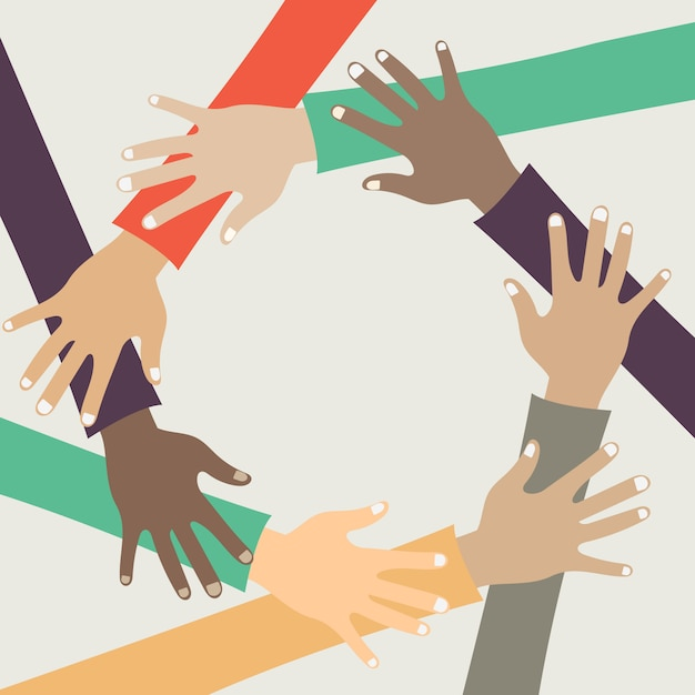 Friends with stack of hands showing unity and teamwork Premium Vector