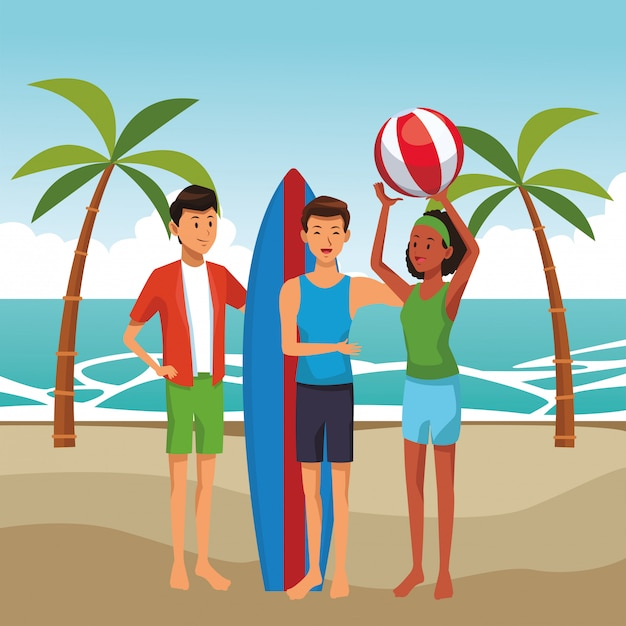 Friends with surf table summer cartoons Free Vector