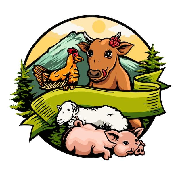 牛鶏豚羊ロゴイラスト間の友情 Premiumベクター