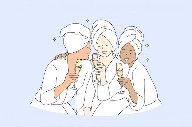 Дружба, красота, вечеринка, отдых, напиток, концепция праздника Premium векторы