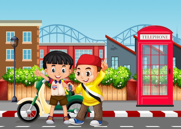 Friendship boys at the road Free Vector
