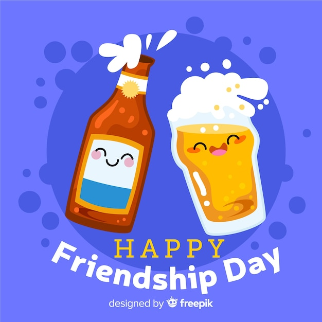 Friendship day background flat design Free Vector