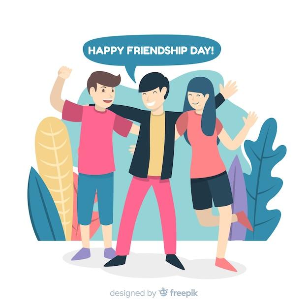 Friendship day background flat design Free Vector