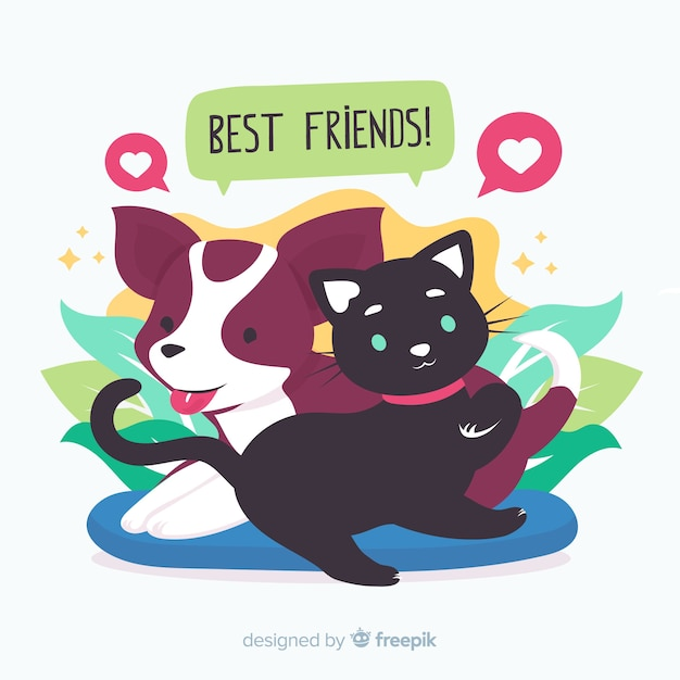 Friendship day background flat style Free Vector