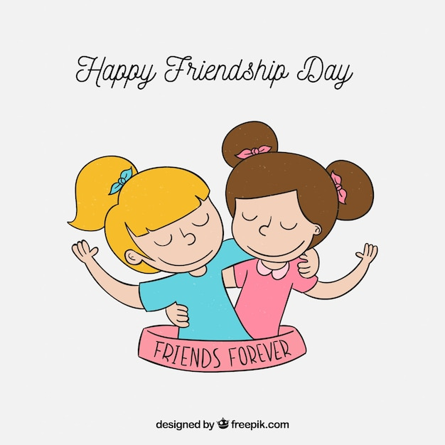 Friendship day background with best friend Free Vector