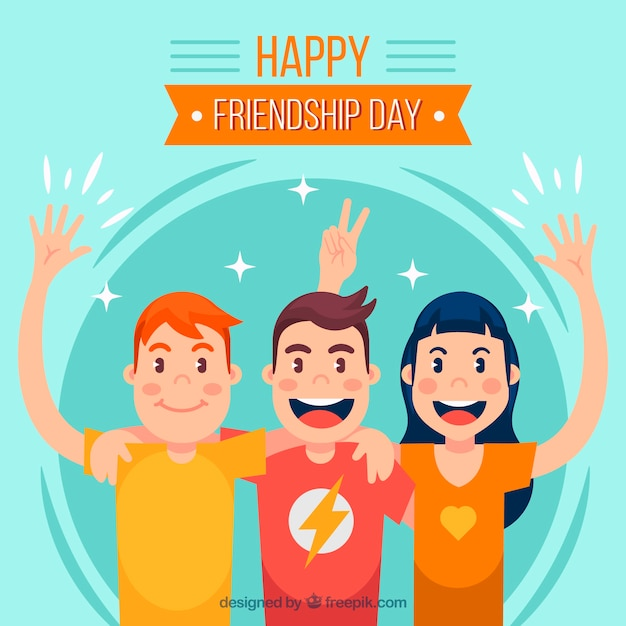 Friendship day background with best friends Free Vector