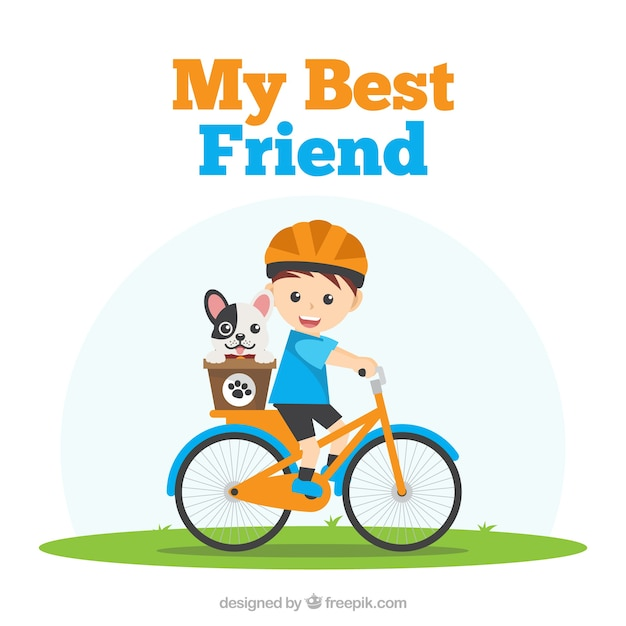 Friendship day background with boy and his dog Free Vector