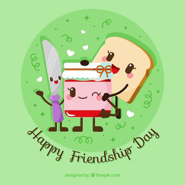 День дружбы с мультяшной пищей Бесплатные векторы