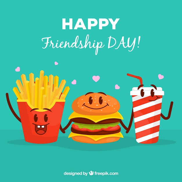 Friendship day background with cartoon food Free Vector