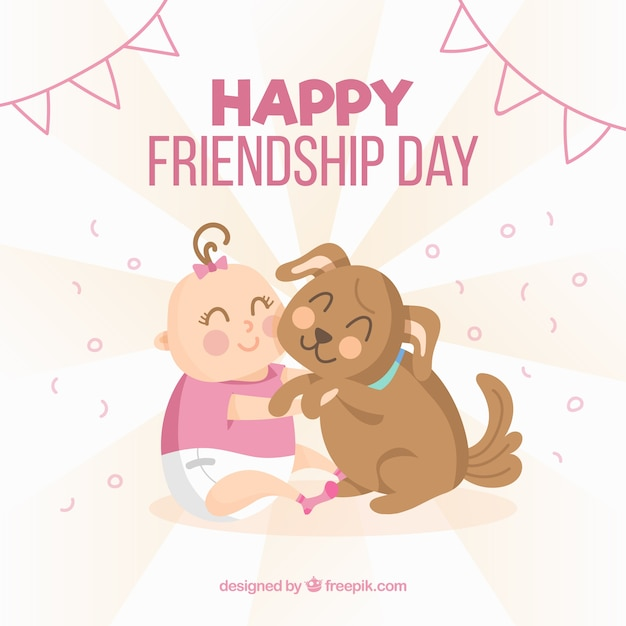 Friendship Day Background With Cute Baby And Dog Free Vector