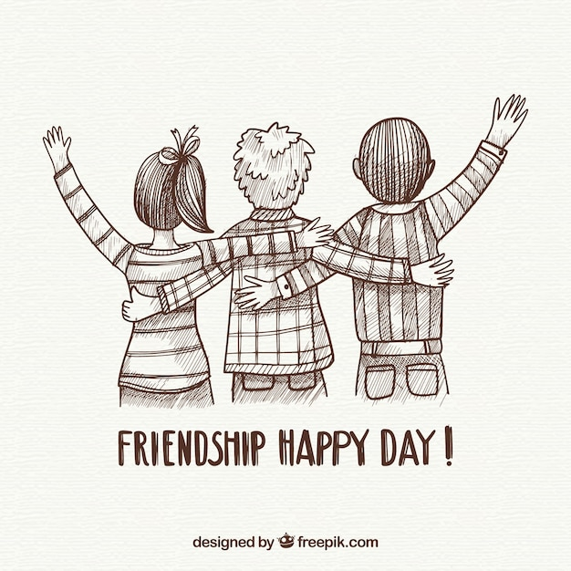 Friendship day background with friends Free Vector