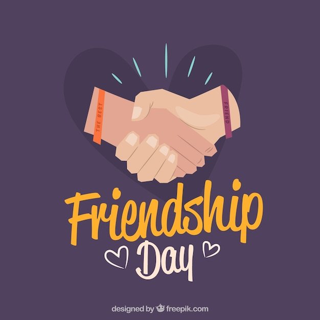 Friendship day background with hands Free Vector