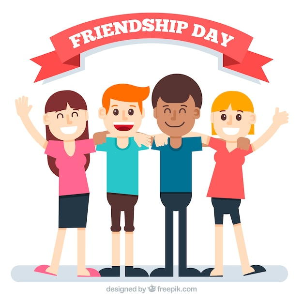 Friendship day background with happy friends Free Vector