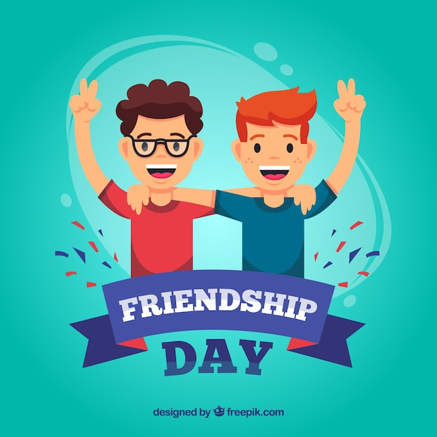 Friendship day background with happy people Free Vector