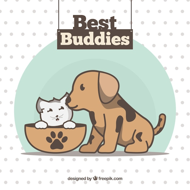 Friendship day background with lovely puppies Free Vector