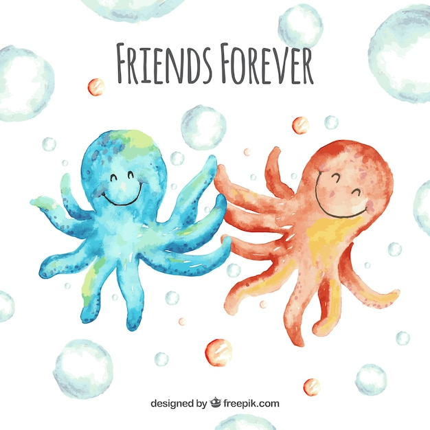 Friendship day background with octopus Free Vector
