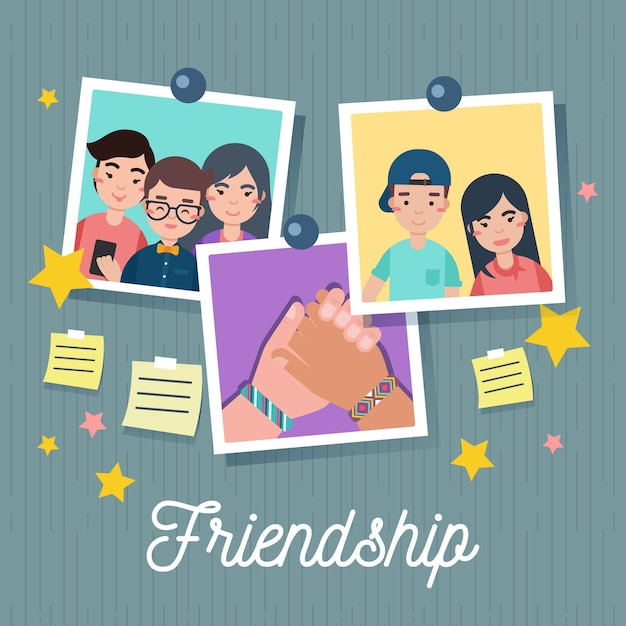 Friendship day background with photos Premium Vector