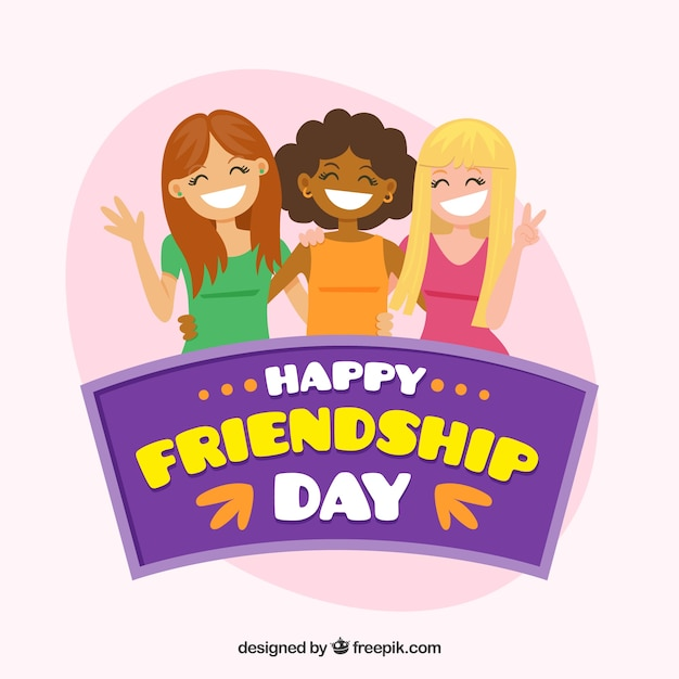 Friendship day background with smiling girls Free Vector