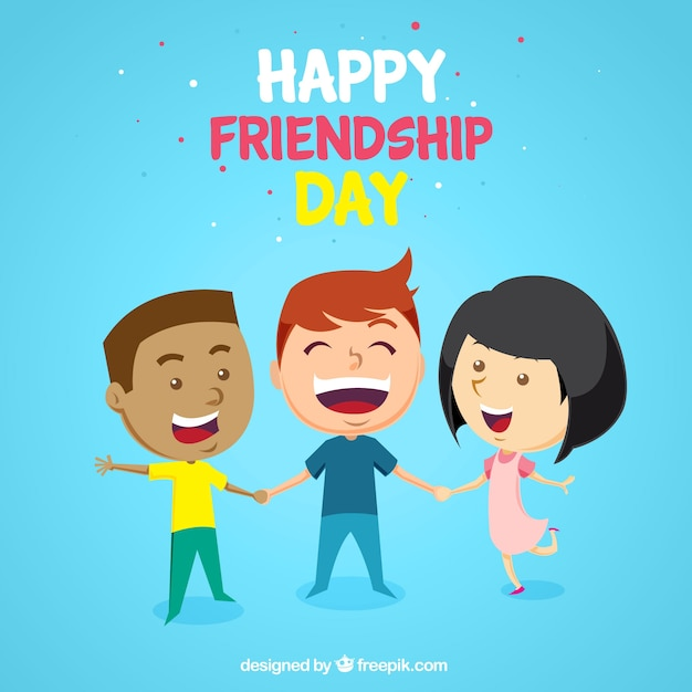 Friendship Day Background With Three Happy Friends Free Vector