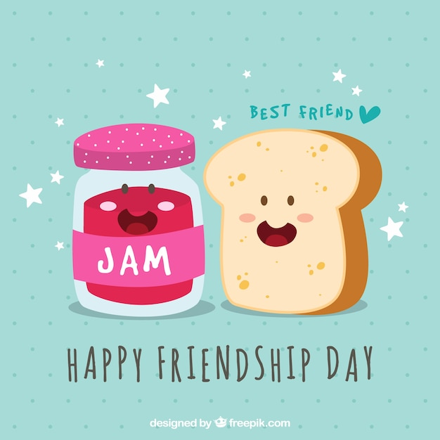 Friendship day background with toast and marmalade Free Vector