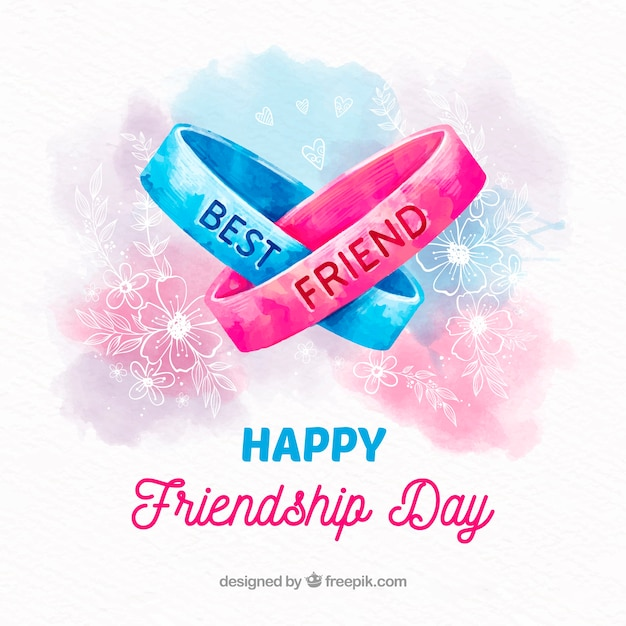 Friendship day background with watercolor bracelets Free Vector
