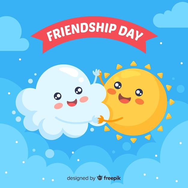 Friendship day flat design background Free Vector