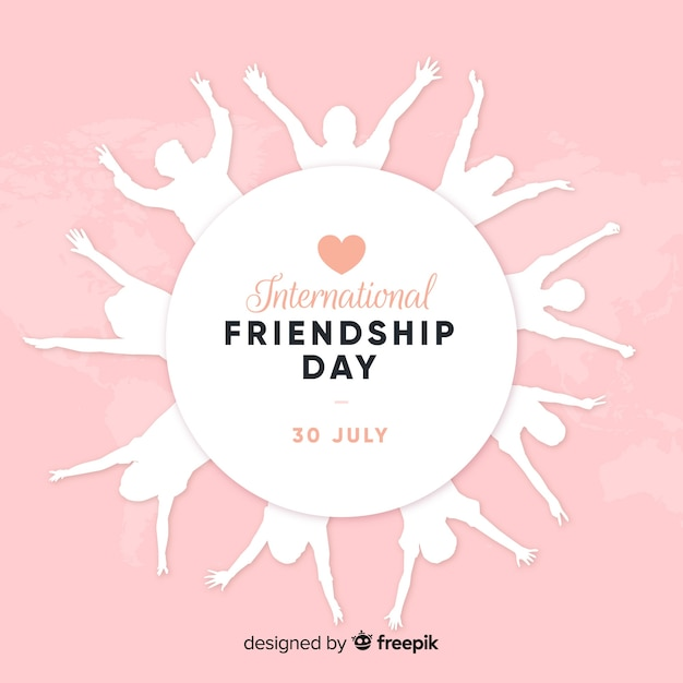 Friendship day flat design background Free Vector