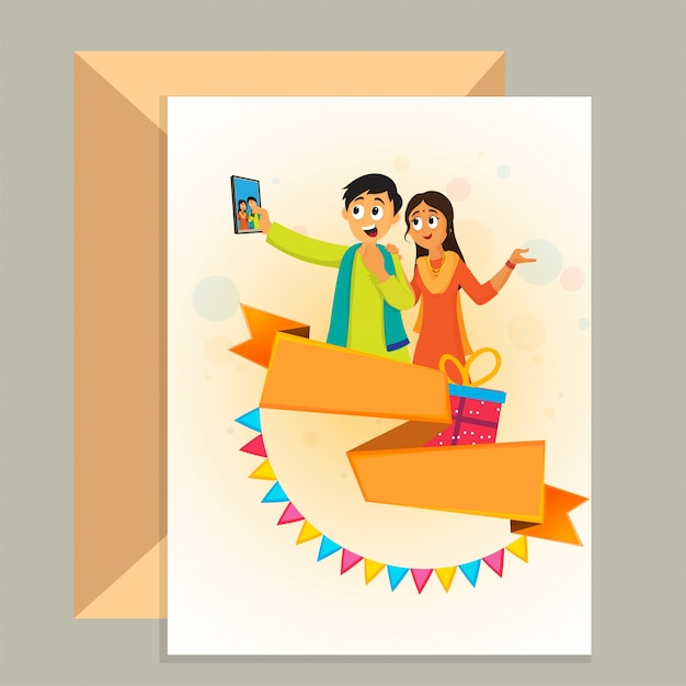 Friendship Day Greeting Card And Envelope Design With Illustration Of Friends Taking Selfie By Smartphone