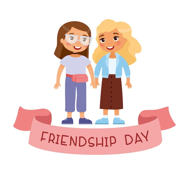 Friendship day. two young cute girls holding hands. funny cartoon character. Premium Vector