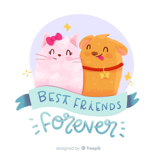Friendship day watercolor style background Free Vector