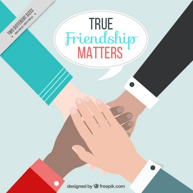 Friendship day with hands background Free Vector