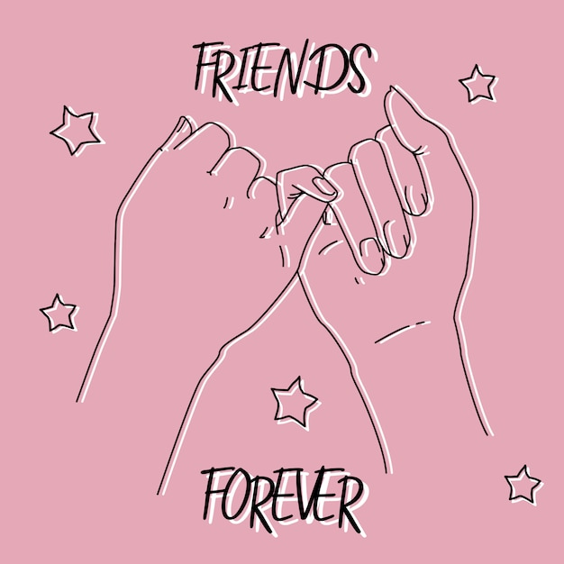 Friendship dayのピンキーな約束の写真 無料ベクター