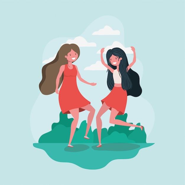 Friendship of girls cartoons Free Vector