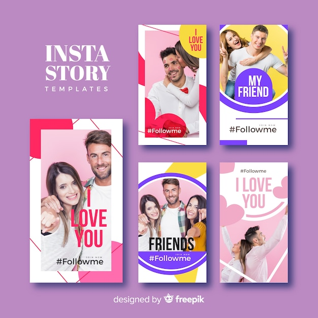 Friendship instagram stories template collection Free Vector