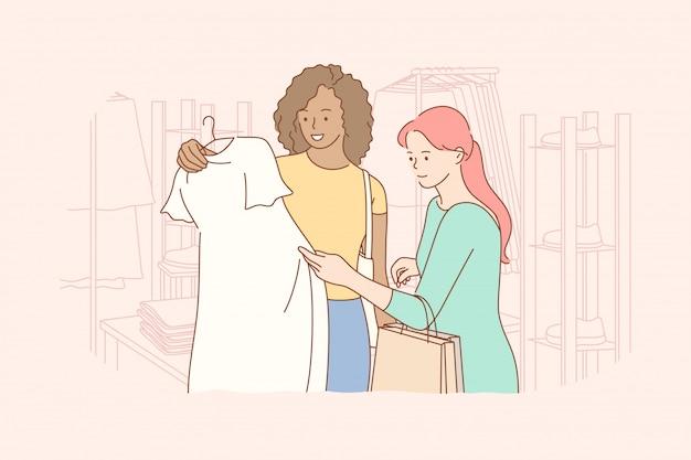 友情、ショッピング、レクリエーション、ファッション、美容のコンセプト Premiumベクター