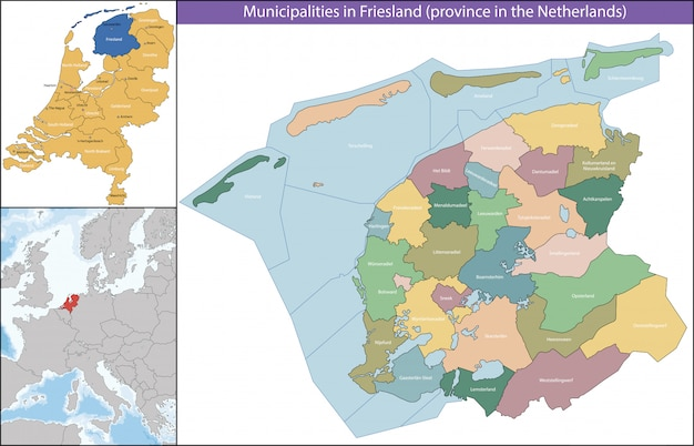 Friesland is a province of the netherlands Premium Vector