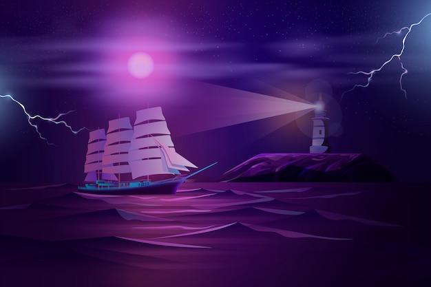 Frigate sailing in stormy ocean cartoon Free Vector