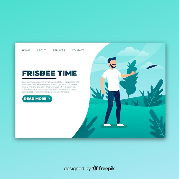 Frisbee landing page Free Vector