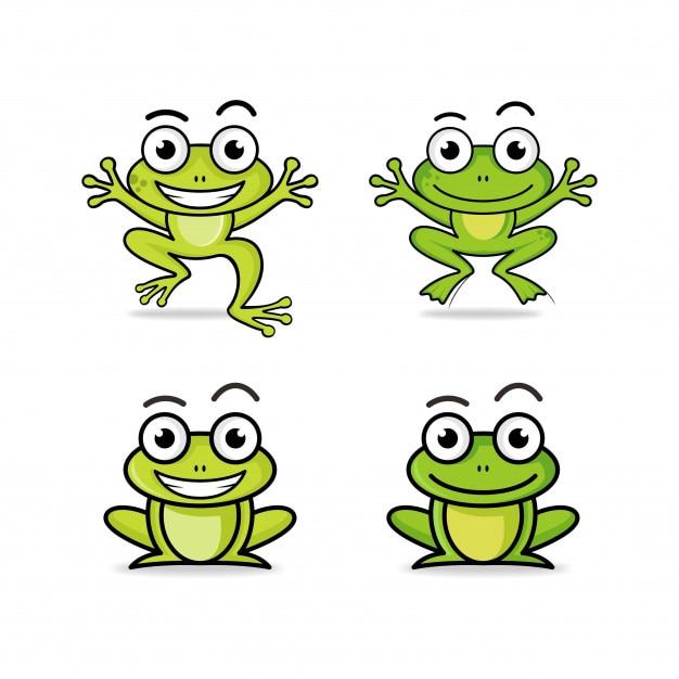 Frog cartoon character logo collection Premium Vector