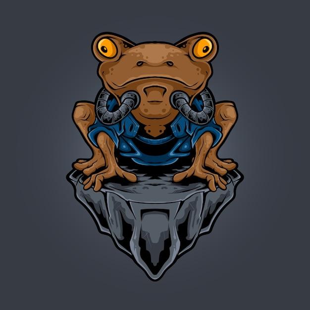 カエル忍者ロボットスタイルのイラスト Premiumベクター